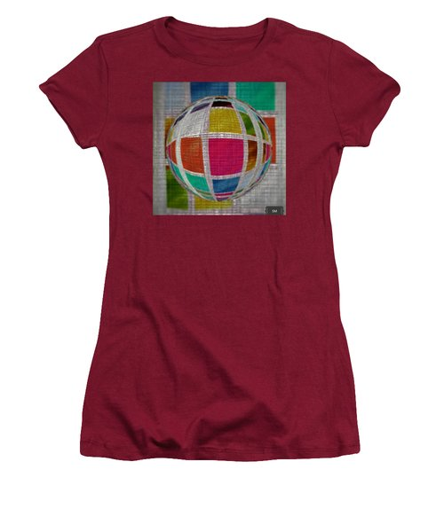 Women's T-Shirt (Athletic Fit) featuring the painting Glass Marble Squares by Sheila Mcdonald