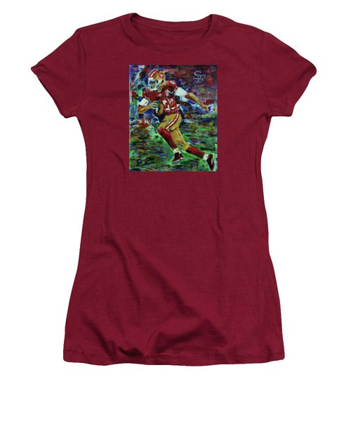 Women's T-Shirt (Junior Cut) featuring the painting Gold Blooded 49ers by Walter Fahmy