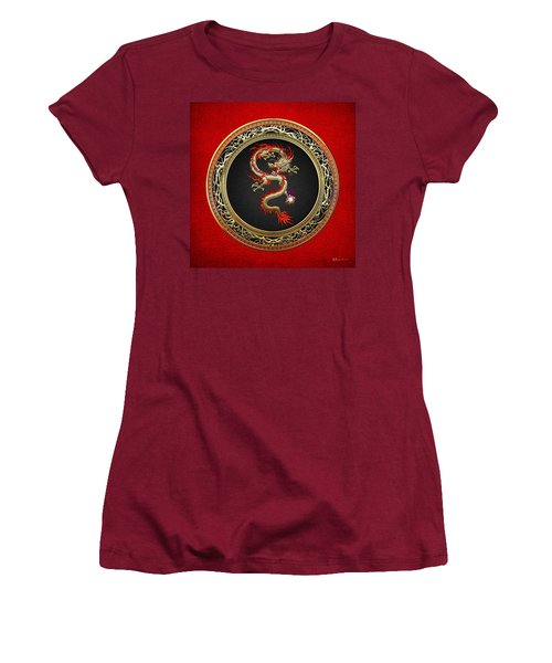 Golden Chinese Dragon Fucanglong On Red Leather  Women's T-Shirt (Athletic Fit)