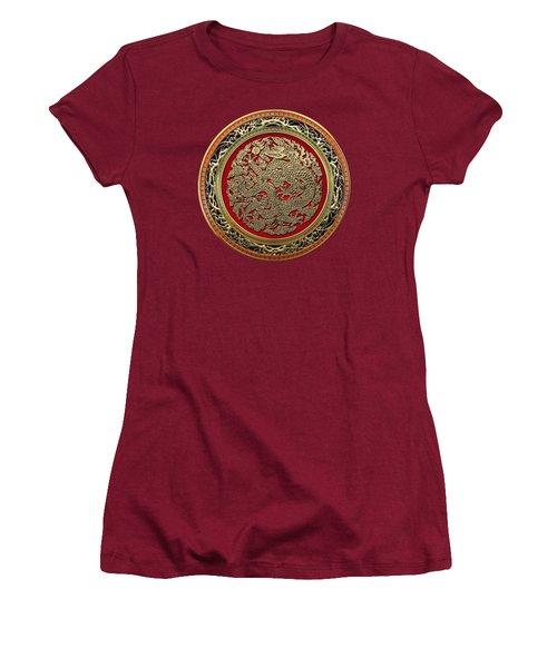 Golden Chinese Dragon On Red Velvet Women's T-Shirt (Junior Cut) by Serge Averbukh