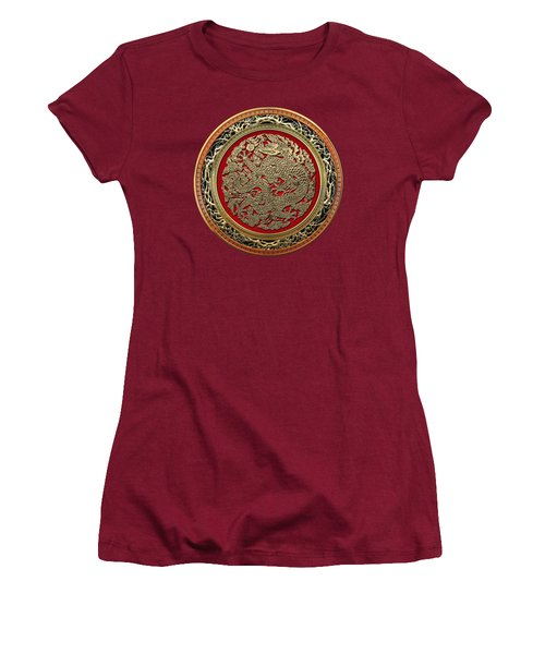 Golden Chinese Dragon On Red Velvet Women's T-Shirt (Athletic Fit)