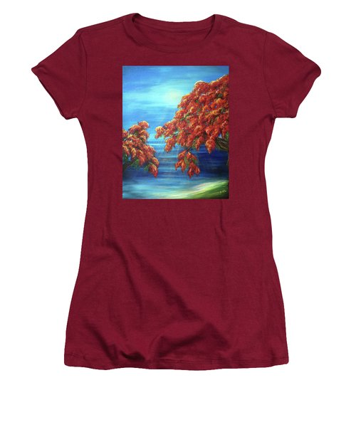 Golden Flame Tree Women's T-Shirt (Athletic Fit)