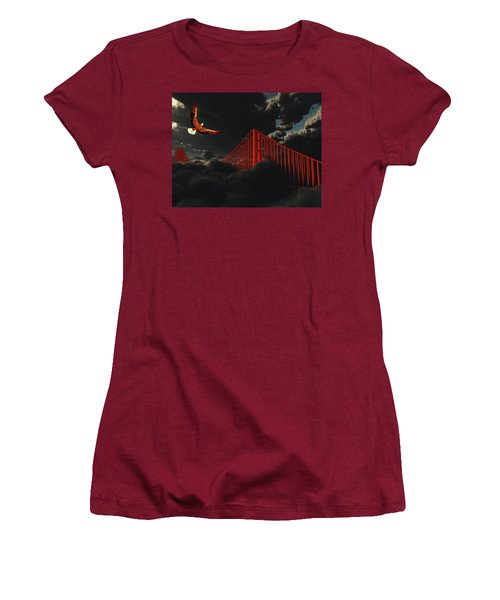 Women's T-Shirt (Junior Cut) featuring the digital art Golden Gate Bridge In Heavy Fog Clouds With Eagle by Bruce Rolff