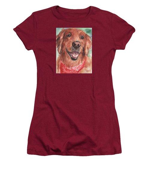 Golden Retriever Dog In Watercolori Women's T-Shirt (Junior Cut) by Maria's Watercolor