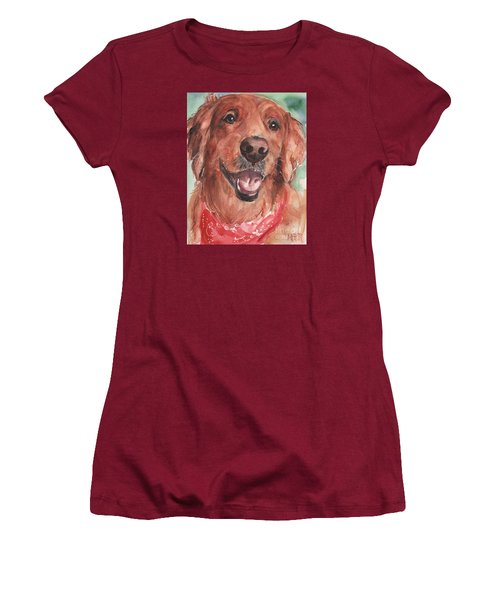 Golden Retriever Dog In Watercolori Women's T-Shirt (Athletic Fit)