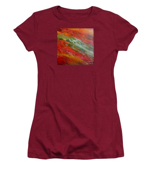Women's T-Shirt (Junior Cut) featuring the painting Green River by Dragica  Micki Fortuna