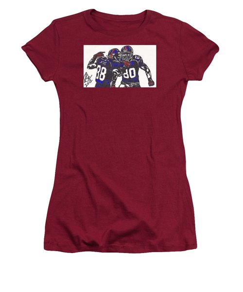 Hakeem Nicks And Victor Cruz Women's T-Shirt (Junior Cut) by Jeremiah Colley