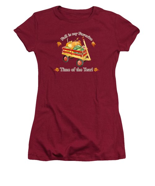 Women's T-Shirt (Junior Cut) featuring the painting Harvest Red Wagon Pumpkins N Leaves by Audrey Jeanne Roberts