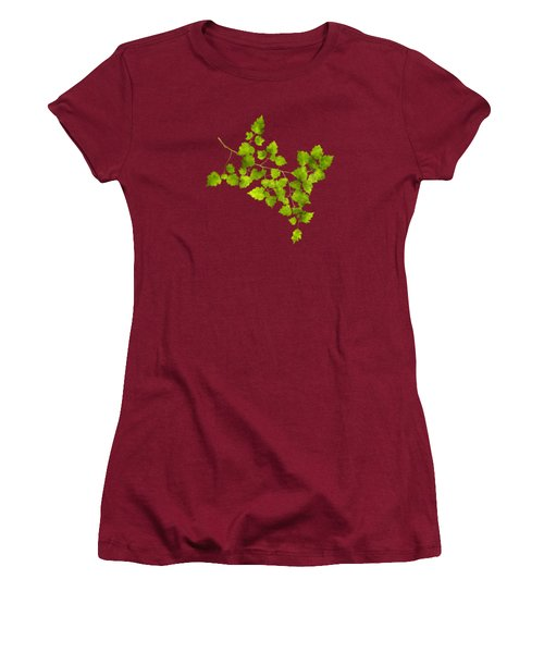 Women's T-Shirt (Junior Cut) featuring the mixed media Hawthorn Pressed Leaf Art by Christina Rollo