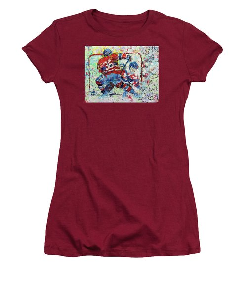 Women's T-Shirt (Junior Cut) featuring the painting Ice Hockey No1 by Walter Fahmy