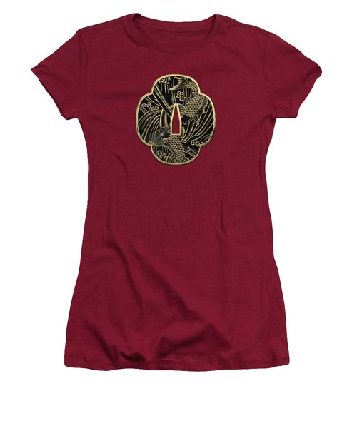 Japanese Katana Tsuba - Golden Twin Koi On Black Steel Over Red Velvet Women's T-Shirt (Athletic Fit)