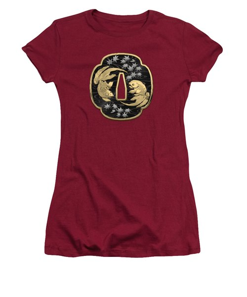 Japanese Katana Tsuba - Twin Gold Fish On Black Steel Over Red Velvet Women's T-Shirt (Junior Cut)