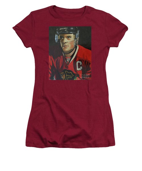 Jonathan Toews Portrait Women's T-Shirt (Junior Cut) by Melissa Goodrich