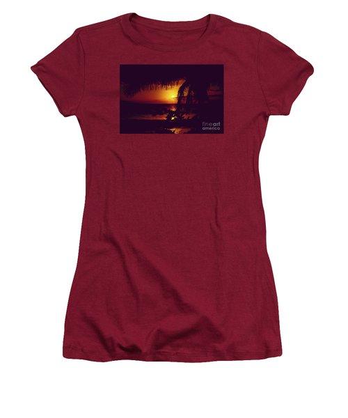 Kamaole Tropical Nights Sunset Gold Purple Palm Women's T-Shirt (Junior Cut) by Sharon Mau