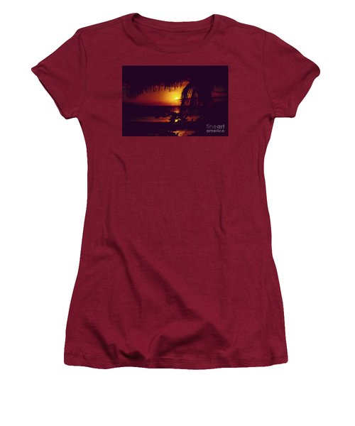 Women's T-Shirt (Athletic Fit) featuring the photograph Kamaole Tropical Nights Sunset Gold Purple Palm by Sharon Mau
