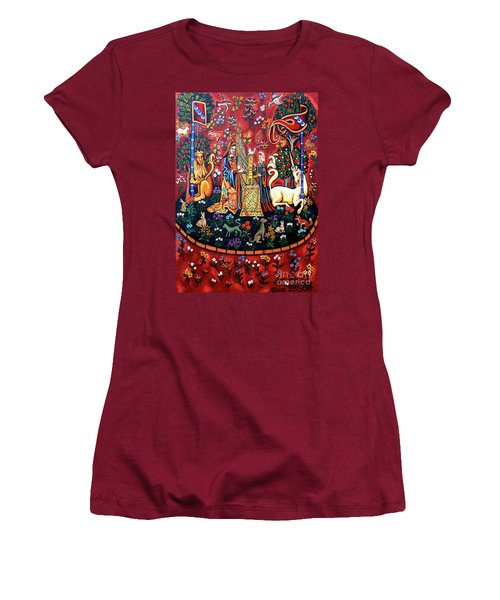 Women's T-Shirt (Junior Cut) featuring the painting Lady And The Unicorn Sound by Genevieve Esson