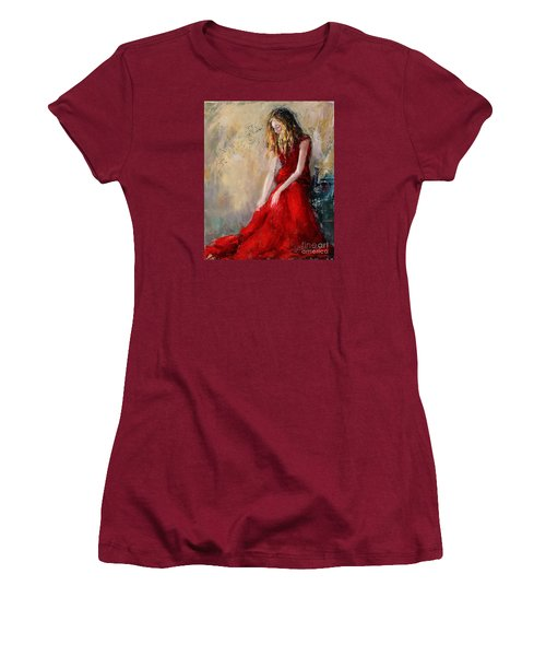 Lady In Red 2 Women's T-Shirt (Junior Cut) by Jennifer Beaudet