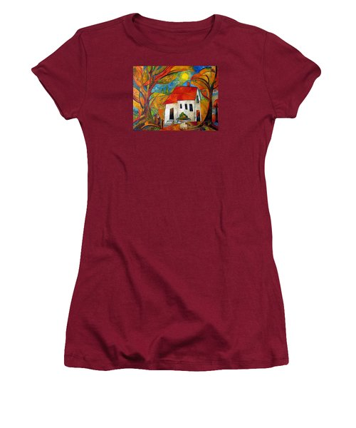 Landscape With The House Women's T-Shirt (Junior Cut) by Mikhail Savchenko
