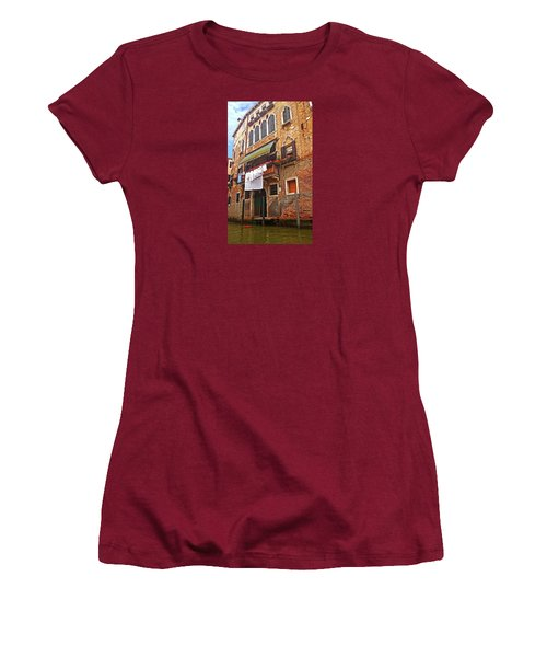 Women's T-Shirt (Athletic Fit) featuring the photograph Laundry Drying In Venice by Anne Kotan