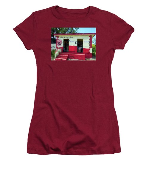 Women's T-Shirt (Junior Cut) featuring the photograph Local Rum Shop, Barbados by Kurt Van Wagner