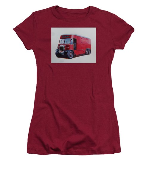 Women's T-Shirt (Junior Cut) featuring the painting London Transport Wrecker. by Mike Jeffries
