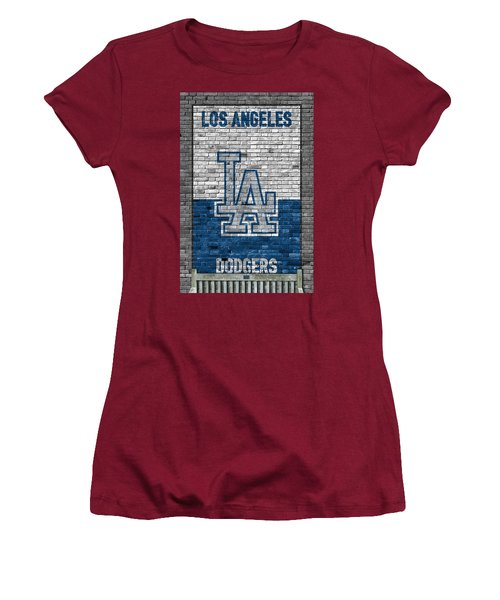 Los Angeles Dodgers Brick Wall Women's T-Shirt (Athletic Fit)