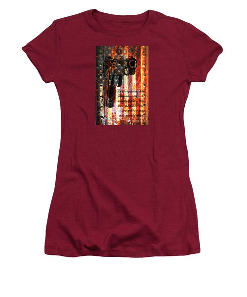 M1911 Pistol And Second Amendment On Rusted American Flag Women's T-Shirt (Junior Cut) by M L C
