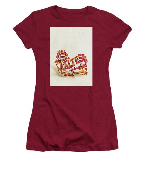 Women's T-Shirt (Athletic Fit) featuring the painting Maltese Dog Watercolor Painting / Typographic Art by Ayse and Deniz