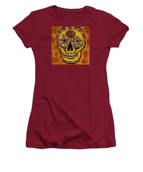 Marigold Skull Women's T-Shirt (Athletic Fit)
