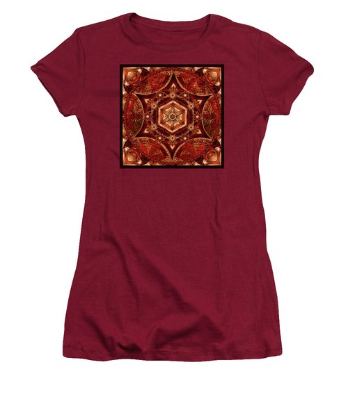 Women's T-Shirt (Junior Cut) featuring the digital art Meditation In Copper by Deborah Smith