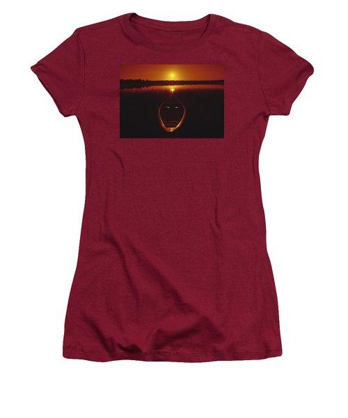 Moody Sunrise Lake Scene With Cedar Canoe Women's T-Shirt (Athletic Fit)