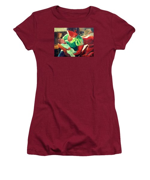 Women's T-Shirt (Junior Cut) featuring the painting Mother And Child In Red2 by Kathy Braud