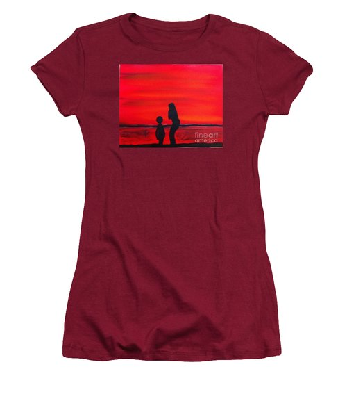 Women's T-Shirt (Junior Cut) featuring the painting Mother And Child by Rod Jellison