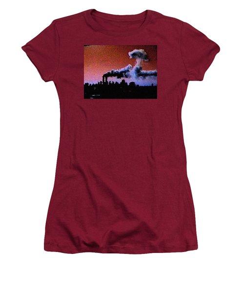 Women's T-Shirt (Junior Cut) featuring the digital art Mushroom Cloud From Flight 175 by James Kosior