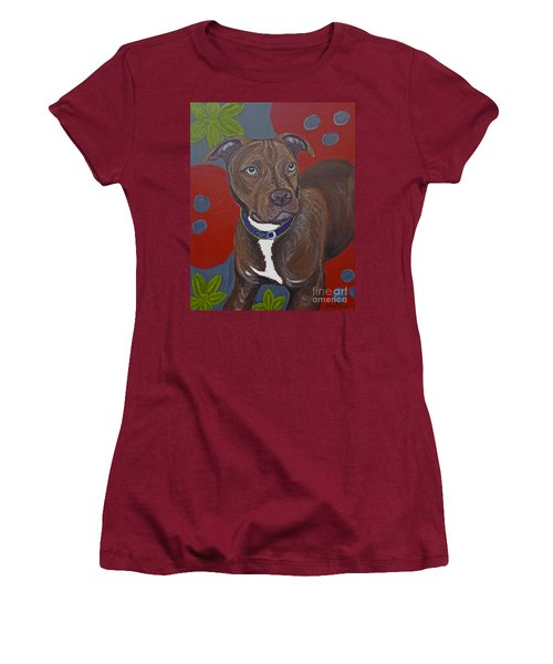 Women's T-Shirt (Junior Cut) featuring the painting Niko The Pit Bull by Ania M Milo