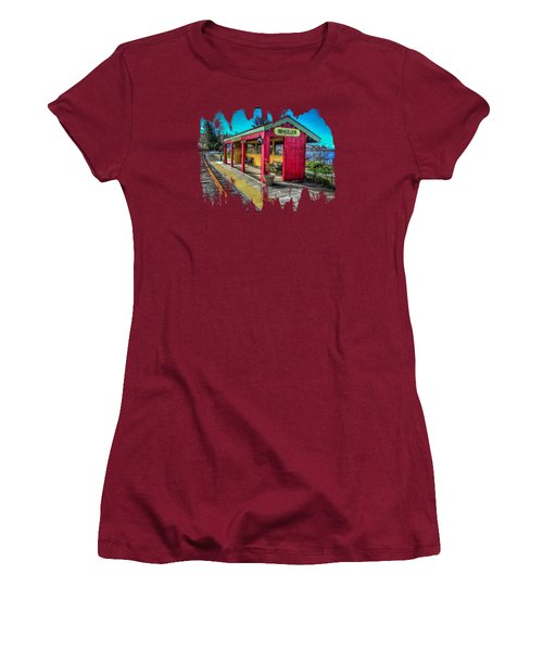 Women's T-Shirt (Junior Cut) featuring the photograph Norm Laknes Train Station by Thom Zehrfeld