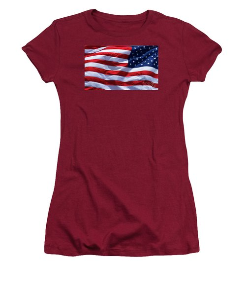 Women's T-Shirt (Junior Cut) featuring the photograph Stitches Old Glory American Flag Art by Reid Callaway