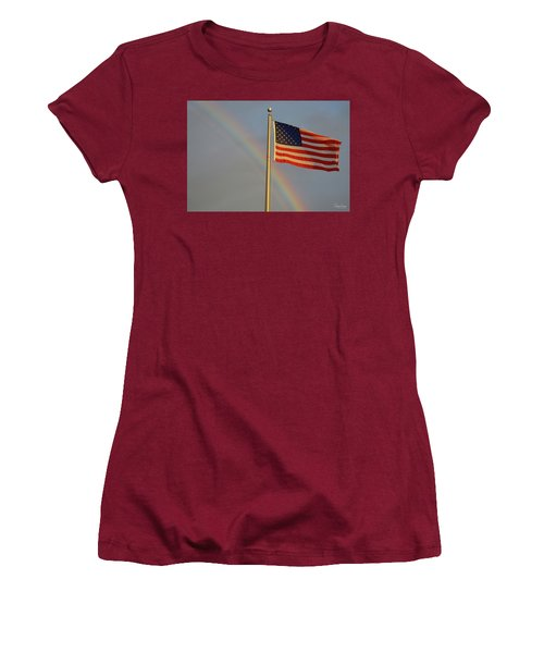 Old Glory And Rainbow Women's T-Shirt (Athletic Fit)