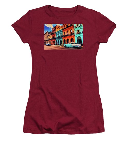 Women's T-Shirt (Athletic Fit) featuring the painting Old Retro Car In Havana by PixBreak Art