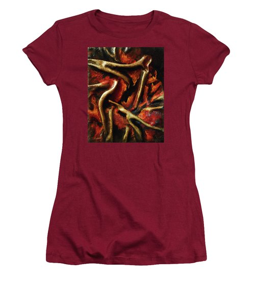 Women's T-Shirt (Junior Cut) featuring the mixed media On Fire by Angela Stout