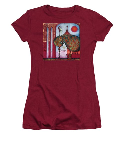 Women's T-Shirt (Junior Cut) featuring the painting On The Rooftop Of The World by Anna Ewa Miarczynska