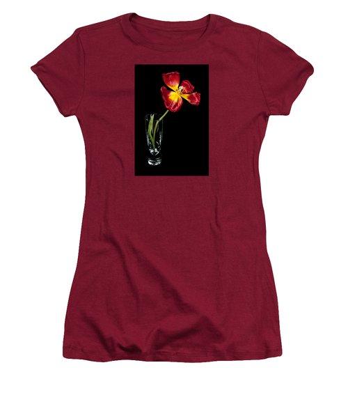 Open Red Tulip In Vase Women's T-Shirt (Junior Cut) by Helen Northcott