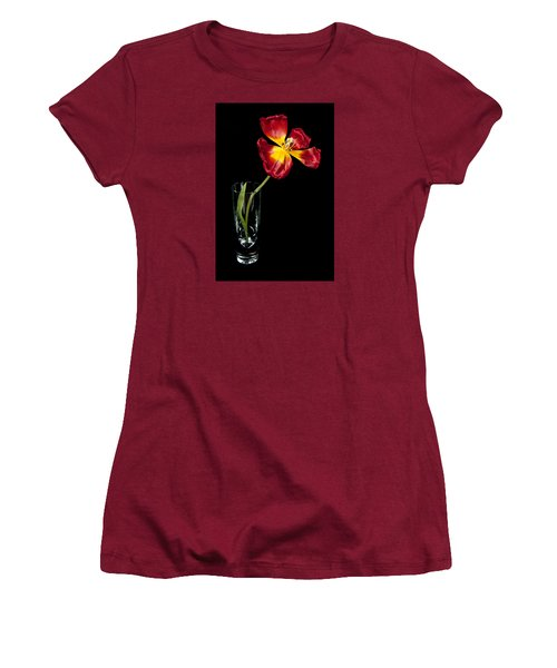 Open Red Tulip In Vase Women's T-Shirt (Athletic Fit)