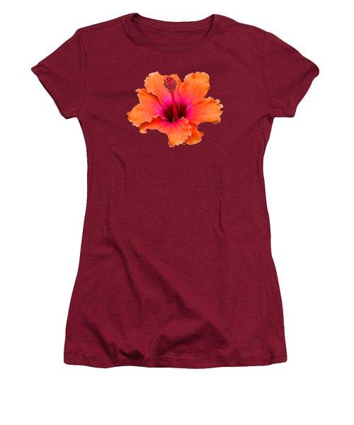 Orange And Pink Hibiscus Women's T-Shirt (Junior Cut) by Pamela Walton