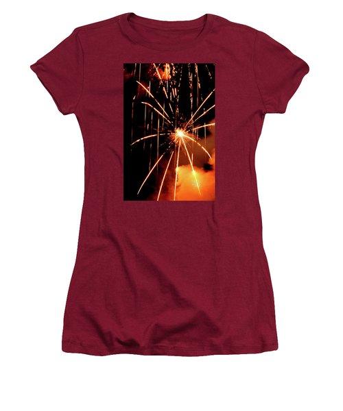 Women's T-Shirt (Junior Cut) featuring the photograph Orange Chetola Fireworks by Meta Gatschenberger