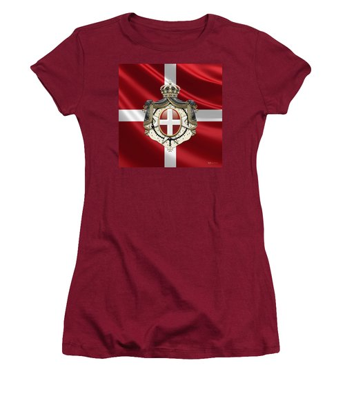 Order Of Malta Coat Of Arms Over Flag Women's T-Shirt (Junior Cut) by Serge Averbukh