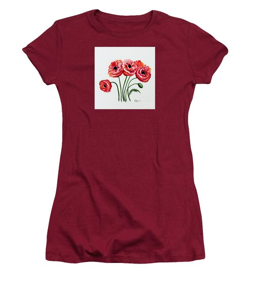 Women's T-Shirt (Junior Cut) featuring the painting Oriental Poppies by Elizabeth Robinette Tyndall