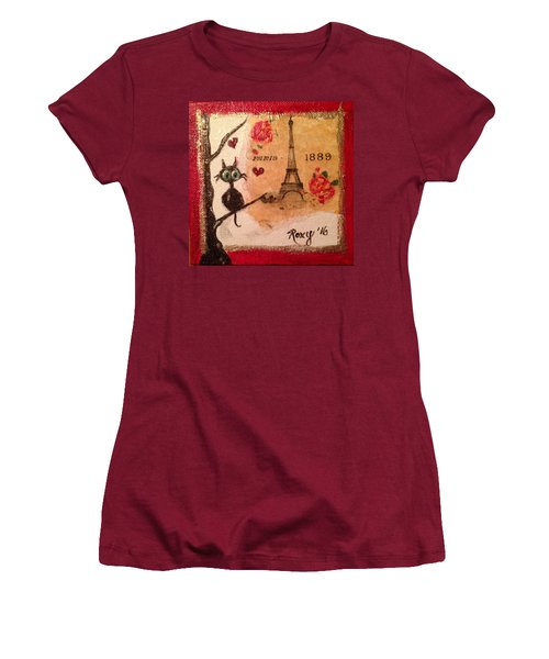 Paris Cat  Women's T-Shirt (Junior Cut) by Roxy Rich