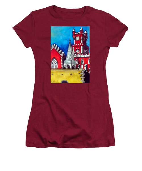 Women's T-Shirt (Junior Cut) featuring the painting Pena Palace In Portugal by Dora Hathazi Mendes