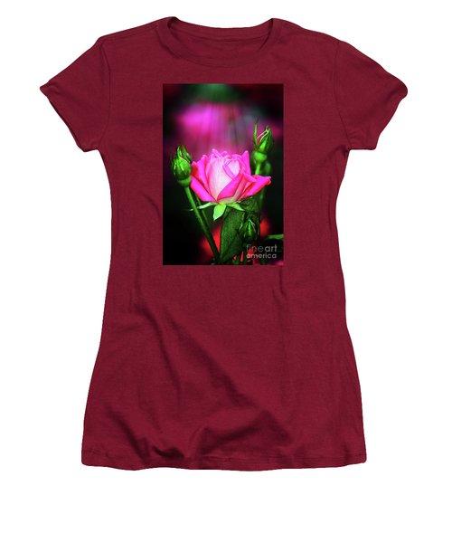 Pink Rose Women's T-Shirt (Junior Cut) by Inspirational Photo Creations Audrey Woods
